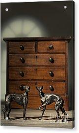 Pair Of Greyhound Dog Figures Acrylic Print by Amanda Elwell