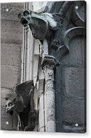 Acrylic Print featuring the photograph Pair Of Griffons Of Notre Dame by Christopher Kirby