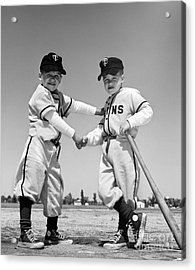 Pair Of Little Leaguers In Uniform Acrylic Print