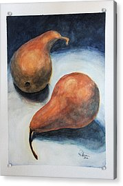 Acrylic Print featuring the painting Pair Of Pears by Rachel Hames
