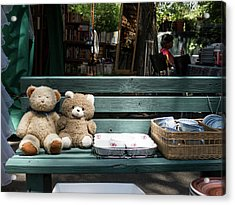 Teddy Bear Lovers On The Banch Acrylic Print