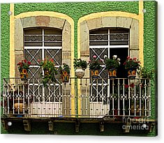 Pair Of Windows In Green Acrylic Print by Mexicolors Art Photography