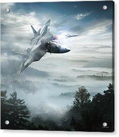 Pak Fa Aka T-50 - Russian Fifth-generation Fighter Jet Acrylic Print by Anton Egorov