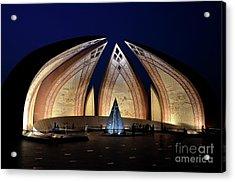 Pakistan Monument Illuminated At Night Islamabad Pakistan Acrylic Print