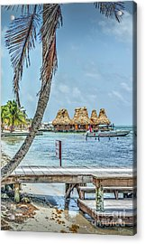 Palapas Boat And Dock Acrylic Print
