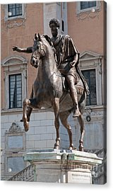 Palazzo Senatorio Bronze Equestrian Statue Of Emporer Marcus Aurelius In Rome Italy Acrylic Print by Andy Smy