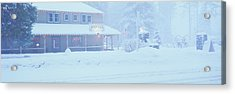 Pale Hotel In Winter Snowstorm, Lake Acrylic Print