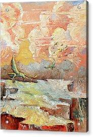 Palette Knife Flight Acrylic Print by Carolyn Coffey Wallace