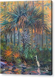 Palm And Egret Acrylic Print by Donald Maier