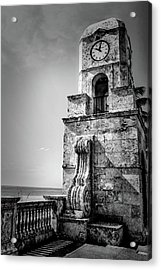 Palm Beach Clock Tower In Black And White Acrylic Print
