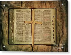 Acrylic Print featuring the digital art Palm Branch Cross And Bible by Randy Steele