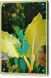 Acrylic Print featuring the painting Palm Branches by Mindy Newman