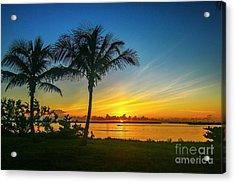 Palm Tree And Boat Sunrise Acrylic Print