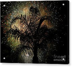 Palm Tree Fireworks Acrylic Print by David Lee Thompson