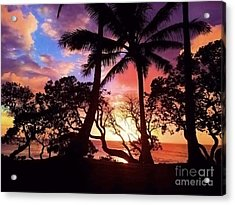 Palm Tree Silhouette Acrylic Print by Kristine Merc