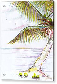 Acrylic Print featuring the digital art Palm Tree Study Three by Darren Cannell