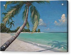 Palm Trees And Beach By Alan Zawacki Acrylic Print