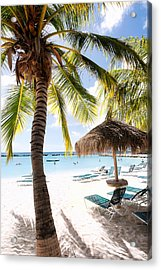 Palm Trees And Palapa Acrylic Print by George Oze