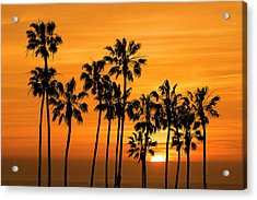 Acrylic Print featuring the photograph Palm Trees At Sunset By Cabrillo Beach by Randall Nyhof