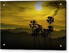 Acrylic Print featuring the photograph Palm Trees At Sunset With Mountains In California by Randall Nyhof