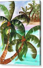 Palm Trees Breeze Acrylic Print by Cheryl Fox