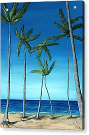 Palm Trees On Blue Acrylic Print by Anastasiya Malakhova