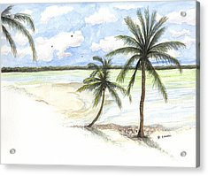 Acrylic Print featuring the painting Palm Trees On The Beach by Darren Cannell