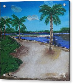 Palm Trees On The Beach Acrylic Print