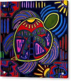 Palm Turtle Mola Acrylic Print by Patti Schermerhorn