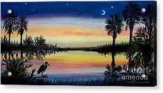Palmetto Tree And Moon Low Country Sunset Acrylic Print