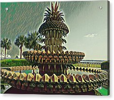 Palms And Pineapples Acrylic Print