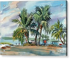 Palms On Sanibel Acrylic Print by Donald Maier