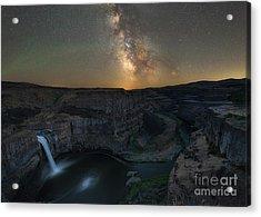 Palouse Falls Milky Way Galaxy  Acrylic Print
