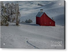 Palouse Saltbox Barn Winter Acrylic Print