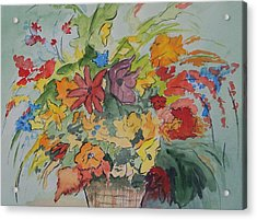Pams Flowers Acrylic Print by Robert Thomaston
