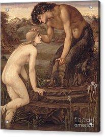 Pan And Psyche Acrylic Print by Sir Edward Burne-Jones