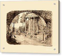Pan Looking Upon Ruins Acrylic Print