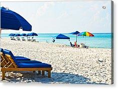 Panama City Beach Florida With Beach Chairs And Umbrellas Acrylic Print by Vizual Studio