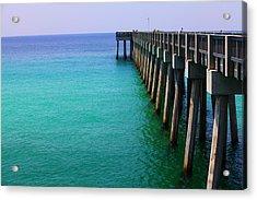 Panama City Beach Pier Acrylic Print by Toni Hopper