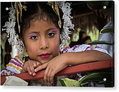 Panamanian Girl On Float In Parade Acrylic Print