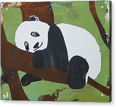 Acrylic Print featuring the painting Panda Baby by Candace Shrope