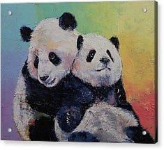 Panda Hugs Acrylic Print by Michael Creese