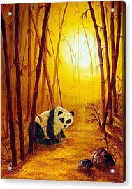 Panda In Sunset Bamboo Acrylic Print