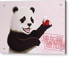 Panda Joy Pink Acrylic Print