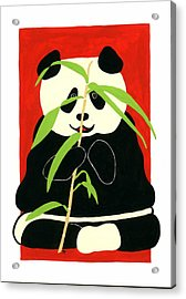 Panda With Bamboo Acrylic Print by Terry Taylor