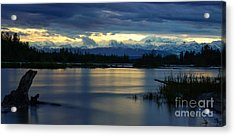 Pano Alaska Midnight Sunset Acrylic Print