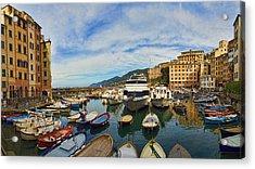 Panorama No 1 Of Camogli Fishing Village On The Italian Rivier Acrylic Print by David Smith
