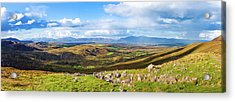 Panorama Of A Colourful Undulating Irish Landscape In Kerry Acrylic Print by Semmick Photo