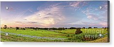 Panorama Of Bales Of Hay In A Field - Chappell Hill Texas Acrylic Print by Silvio Ligutti