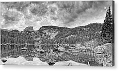 Panorama Of Bear Lake And Halletts Peak In Monochrome - Rocky Mountain National Park Estes Park Colo Acrylic Print
